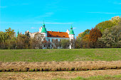 Baranow Sandomierski Castle. Exterior view of the castle from a long distance.