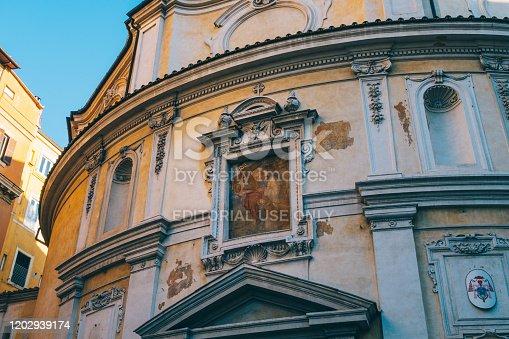 Rome, Italy - Dec 30, 2019: exterior view of the Church Rectory San Bernardo alle Terme, Rome, Italy