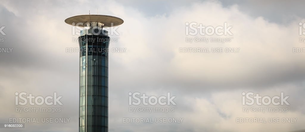 exterior view of the control tower south of Roissy Charles De Gaulle airport stock photo
