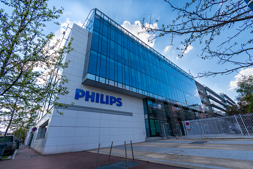 Suresnes, France - April 13, 2021: Exterior view of the French headquarters of Philips, an international Dutch group specializing in household appliances, medical equipment and lighting