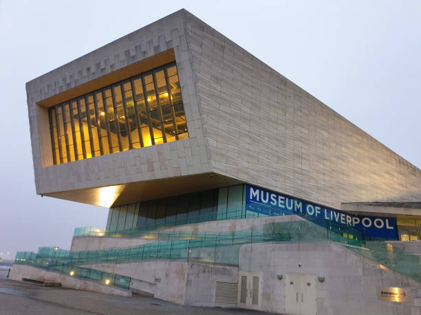 Exterior view of the modern Museum of Liverpool building. Opened in 2012, the museum documents the social and cultural history of Liverpool. stock photo