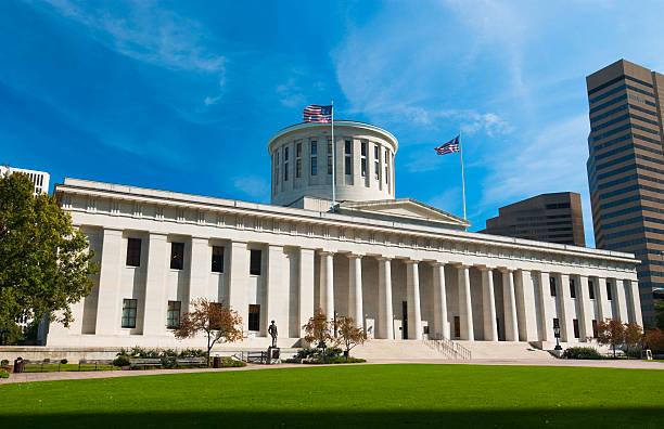 Exterior view of the Ohio Statehouse stock photo
