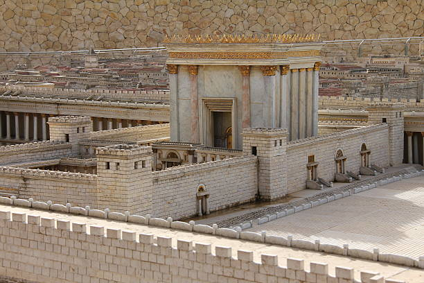 exterior view of the second temple in ancient jerusalem - tapınak stok fotoğraflar ve resimler