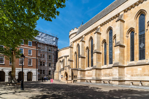 Exterior view of The Temple Church in London stock photo