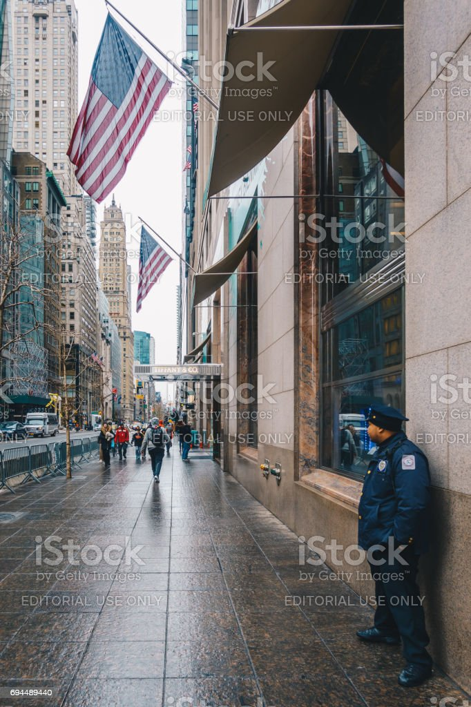Exterior view of Tiffany & Co. , on Fifth Avenue in Manhattan. stock photo