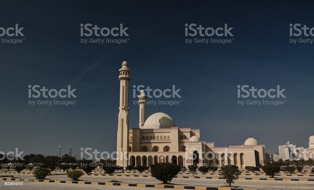 Exterior view to Al Fateh Mosque, Manama, Bahrain stock photo