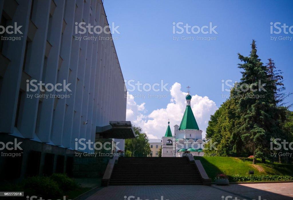 Exterior view to Cathedral of the Archangel Michael, Nizhny Novgorod, Russia stock photo