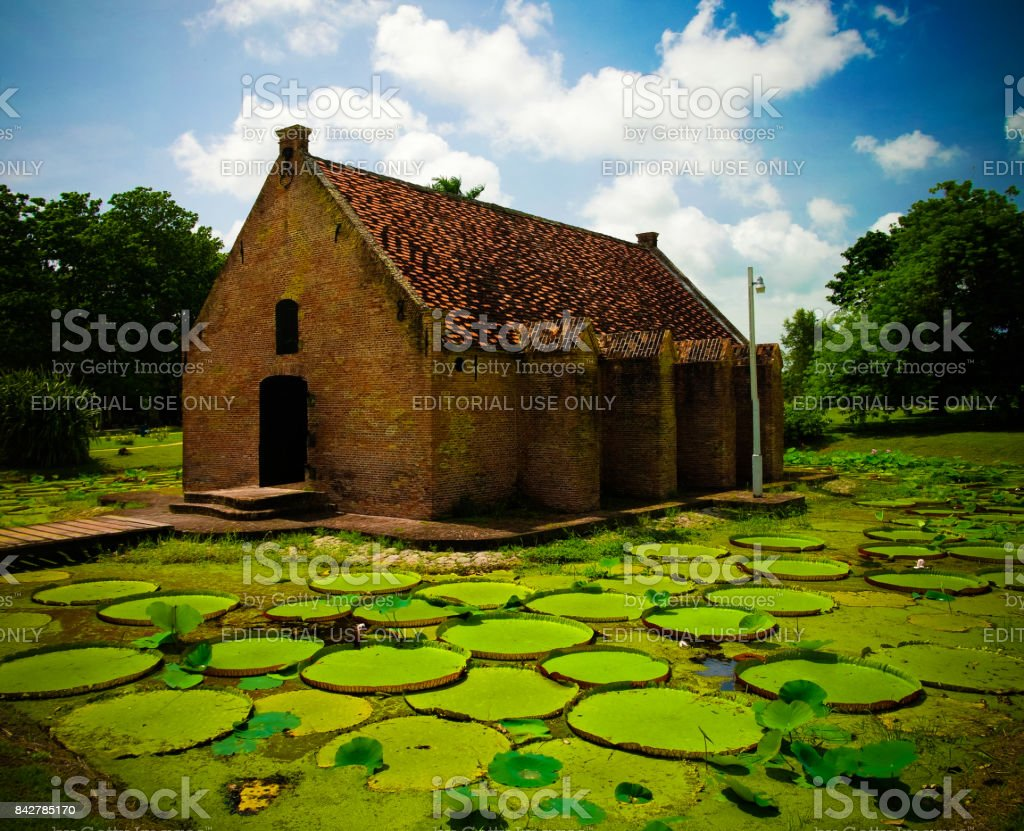 Exterior view to gunpowder storage in Fort Nieuw Amsterdam, Marienburg, Suriname stock photo