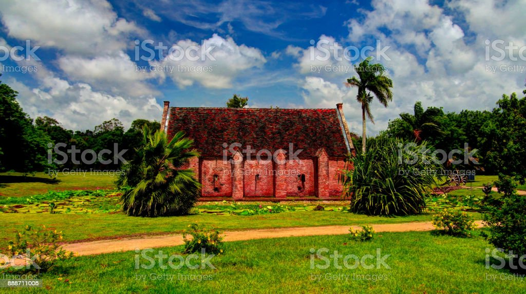 Exterior view to gunpowder storage in Fort Nieuw AmsterdamMarienburg, Suriname stock photo