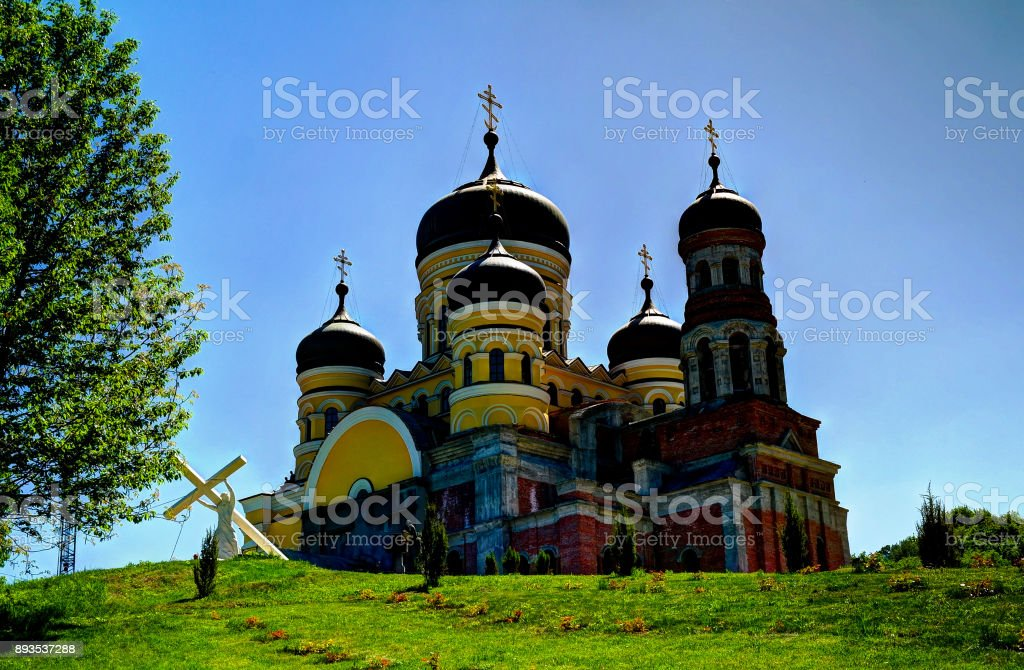 Exterior view to Saint Pantaleon church of Peter and Paul cathedral at orthodox Hancu Saint Paraskeva monastery, Moldova stock photo