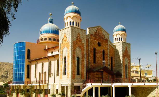 exterior view to san antonios church,keren, eritrea - eritrea stock photos and pictures