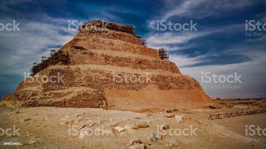 Exterior view to step pyramid of Zoser, Saqqara, Egypt stock photo