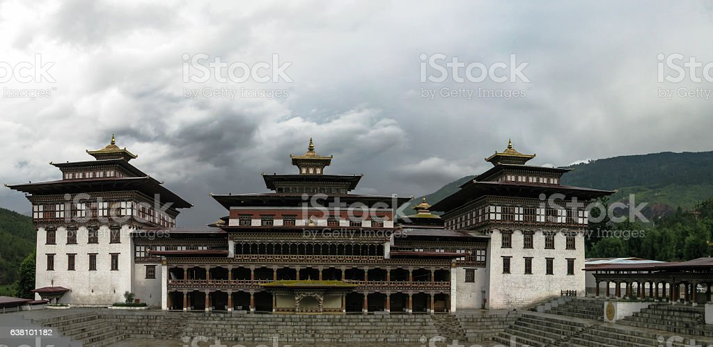 Exterior view to Tashichho dzong, Thimphu Bhutan stock photo