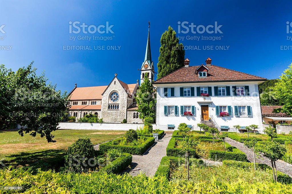 Exterior views of  the St. Sebastian Church of Wettingen stock photo