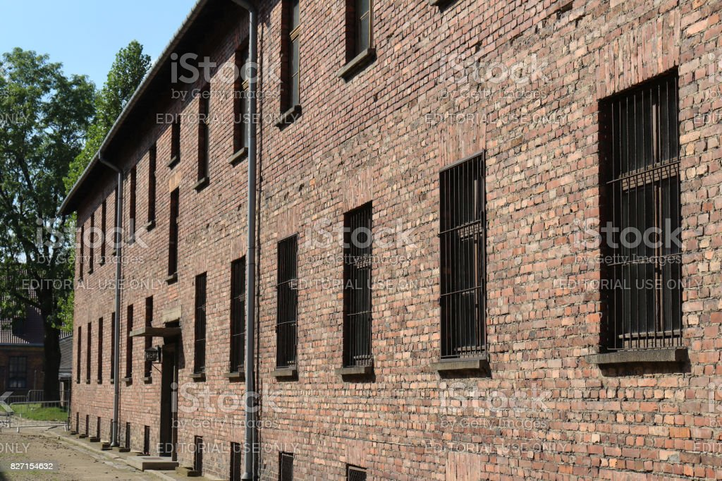 Exterior wall of a building block at Auschwitz nazi concentration camp. stock photo