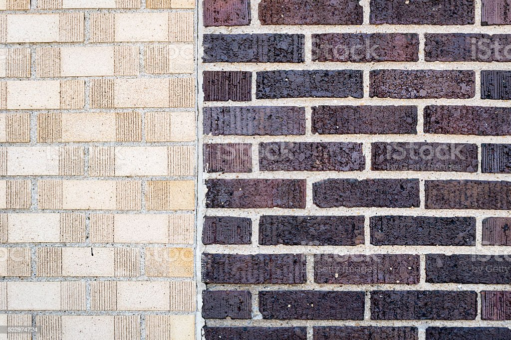 Exterior Wall With Two Different Types Of Bricks Stock Photo More