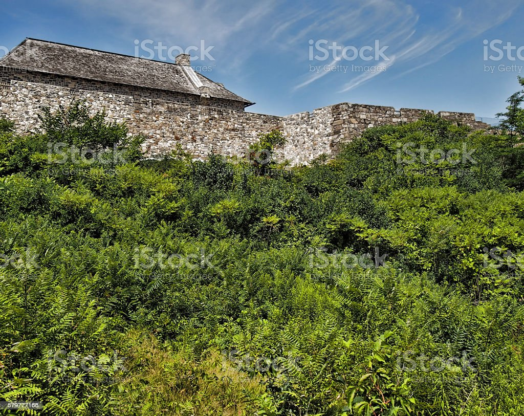 exterior walls of Fort Ticonderoga stock photo