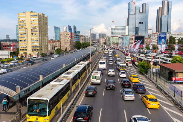 Exterior wide angle view from Metrobus line near Mecidiyekoy in Istanbul stock photo