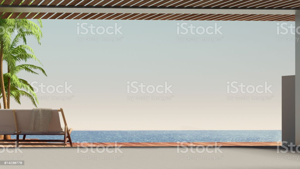 exterior with the sea and chair 3D illustration stock photo