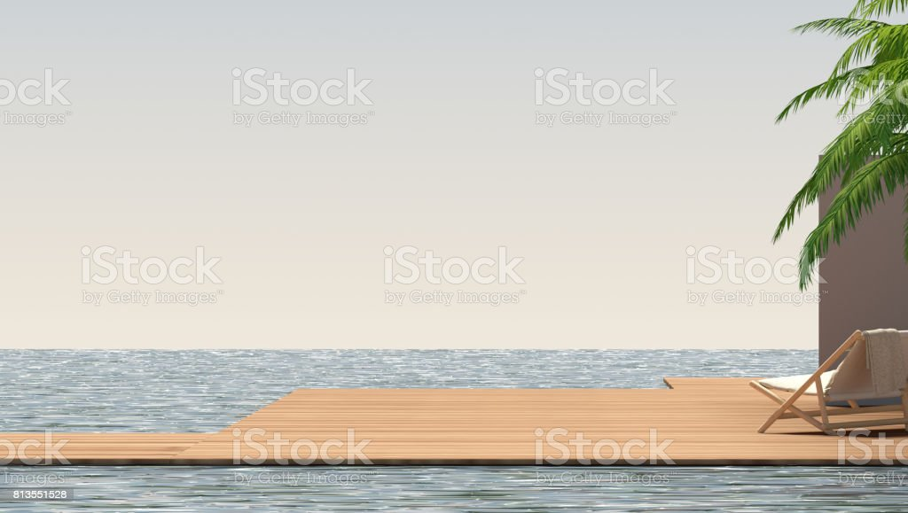exterior with wooden chair and sea 3D illustration stock photo