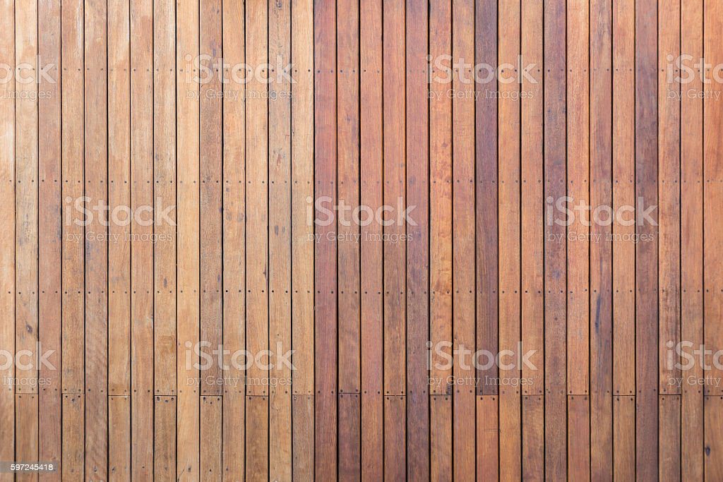 Exterior wooden decking or flooring on the terrace stock photo