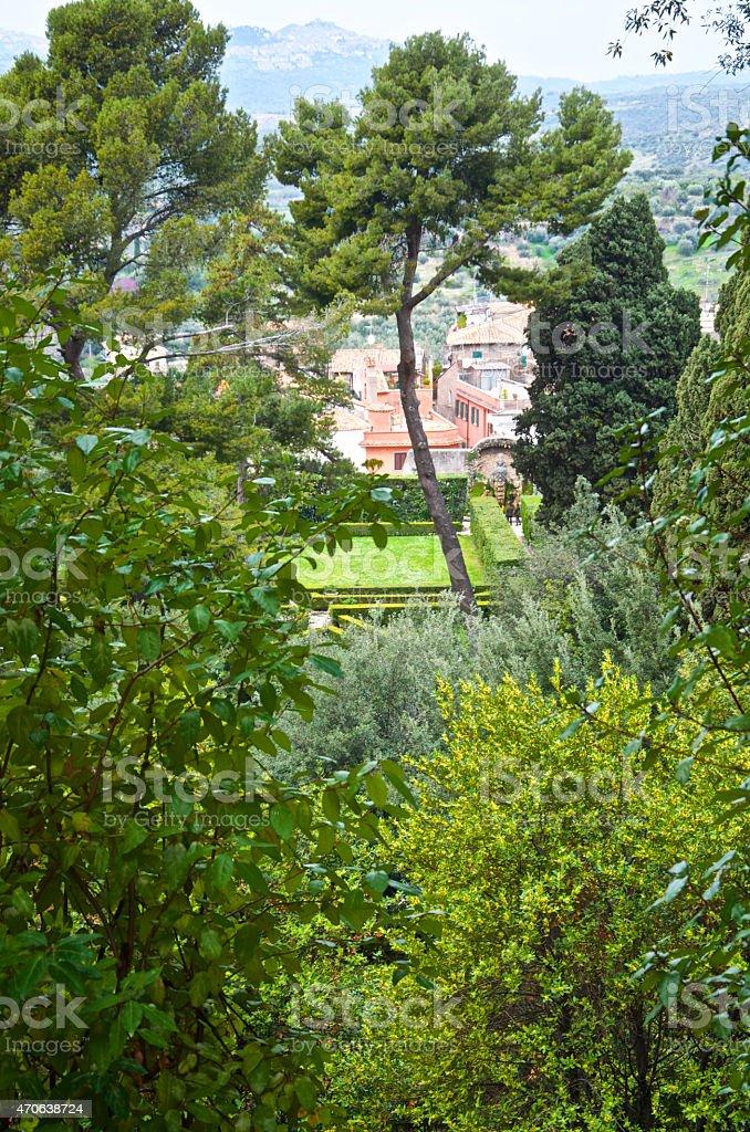 Exteriors of Villa D'Este in Tivoli, near Rome. stock photo