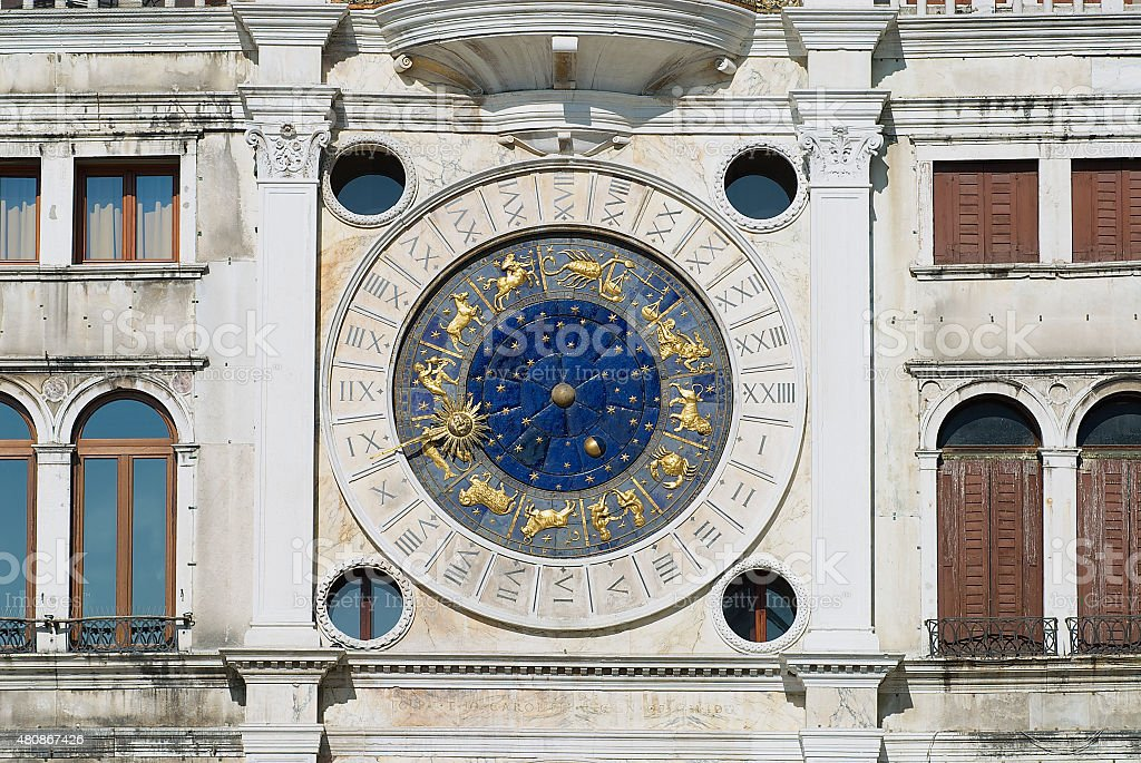 Exteriror detail of the Torre dell Orologio in Venice, Italy. stock photo