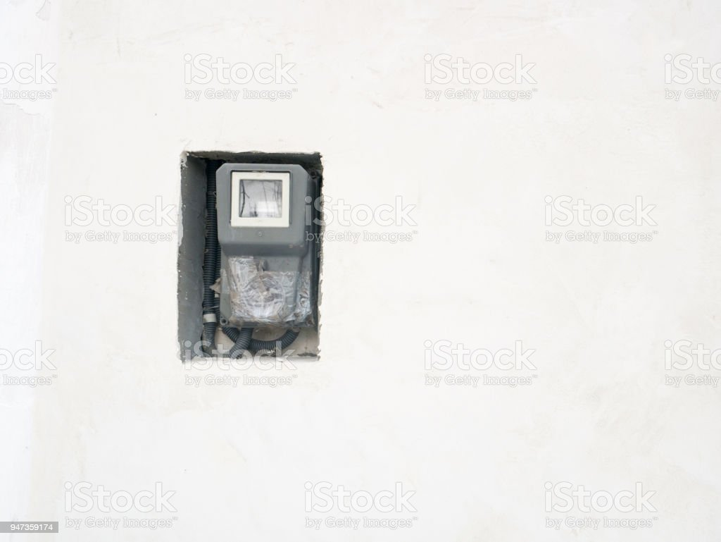 External electric meter stock photo