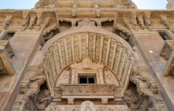 External facade of Baron Empain Palace, Heliopolis district, Cairo, Egypt stock photo