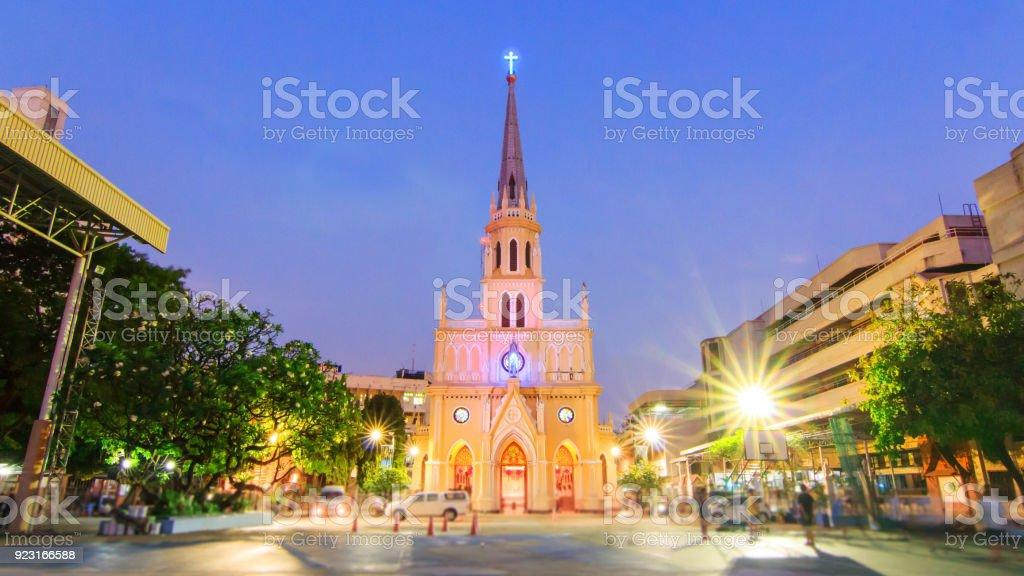 External of Holy Rosary Church /  Wat Kalwa Church landmark stock photo