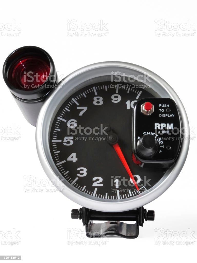 External tachometer with flash. stock photo