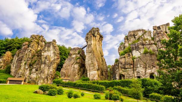 Externsteine in Teutoburg Forest Externsteine in Teutoburg Forest, Germany rock formations stock pictures, royalty-free photos & images