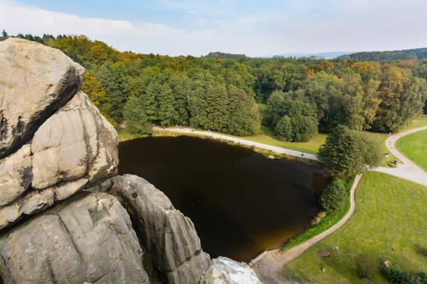Externsteine View in Autumn, Germany stock photo