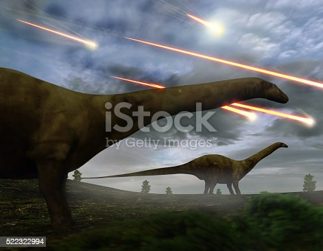 Brontosaurs look upon the meteors raining down that preceded the larger asteroid strike that would lead to the extinction of the dinosaurs 65 million years ago.