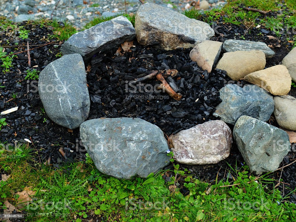 Extinguished Camp Fire. stock photo