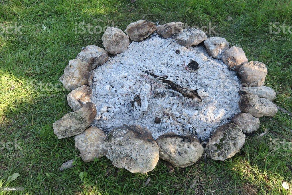 Extinguished Campfire stock photo