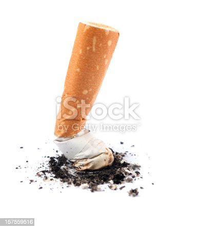 Cigarette butt on white background