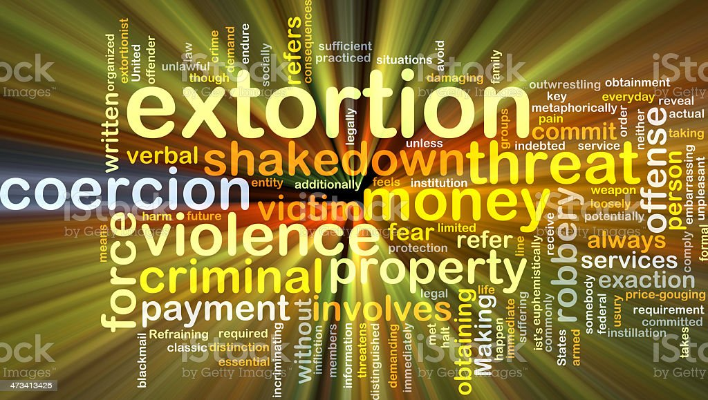 Extortion background concept glowing stock photo
