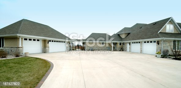 istock Extra Large Five Stall Garage, Gabled Roof, Concrete Drive Way 157427822