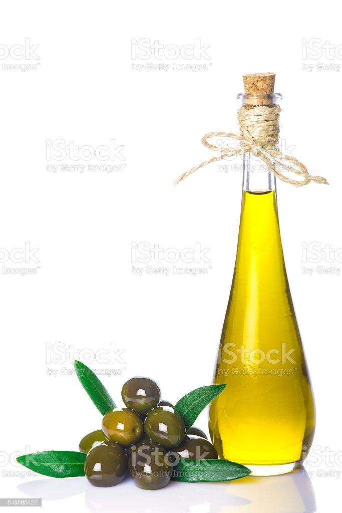 Extra virgin olive oil bottle isolated on white stock photo