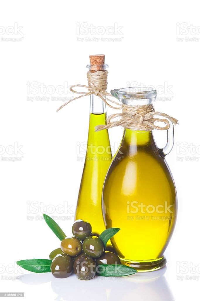 Extra virgin olive oil bottles isolated on white - foto de stock