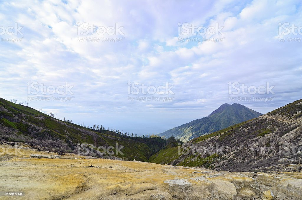 Extracting sulphur inside Kawah Ijen crater, Indonesia royalty-free stock photo