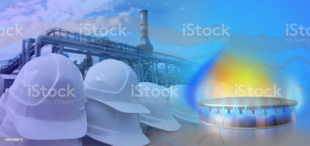 Extraction and processing of shale gas. stock photo