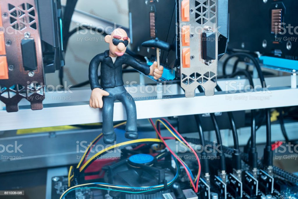Extraction of crypto currency from video cards stock photo