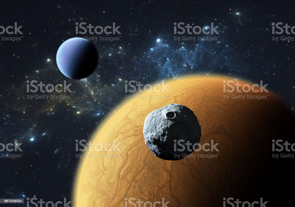 Extrasolar planets or exoplanets with moon. stock photo