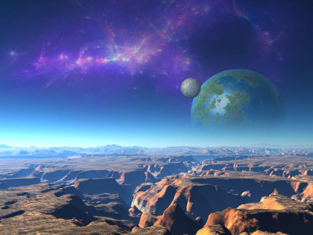 Extraterrestrial landscape stock photo