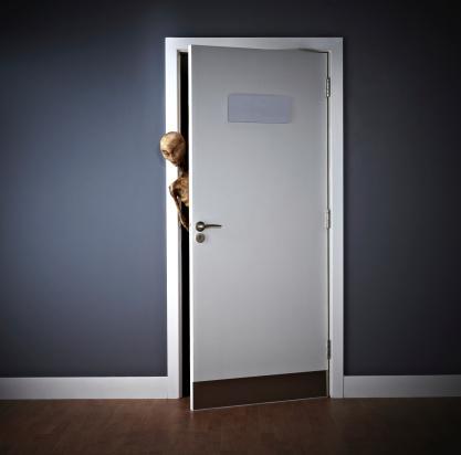 Extraterrestrial peering around an open door