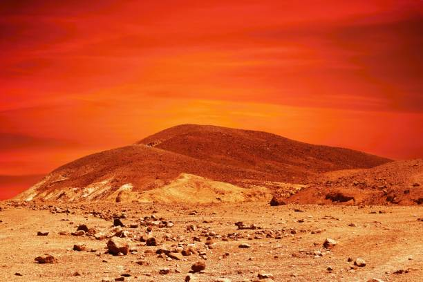 Extraterrestrial red planet landscape stock photo
