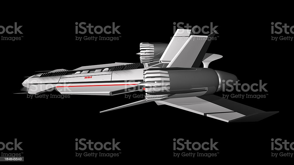 Extraterrestrial spaceship side view stock photo