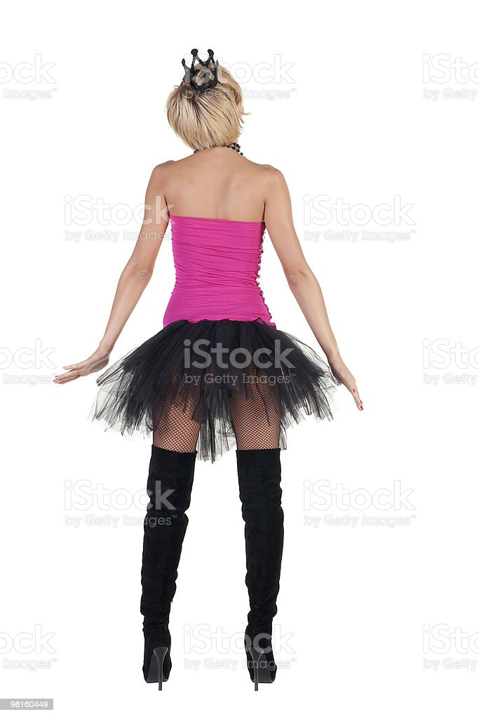 Extravagant blonde in  crown pointing royalty-free stock photo